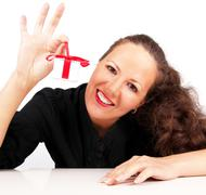 Stock Photo of happy woman with present box