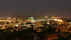 Jacques Cartier Bridge Time Lapse at Night - Pan Left Stock Footage
