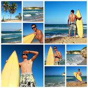 Collage with surfer on beach Stock Photos