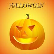 halloween pumpkin with scary face - stock illustration
