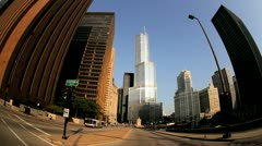 P.O.V. driving, Trump Tower, Chicago, USA Stock Footage