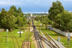 Infrastructure on railroad branching. lviv, ukraine Stock Photos