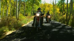 Two couples on motorcycles Stock Footage