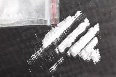 cocaine powder in lines - stock photo