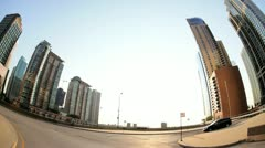 Point of view driving city traffic, Chicago, USA - stock footage