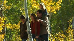 Family walking outdoors Stock Footage