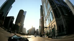 P.O.V. driving city centre Chicago, USA Stock Footage