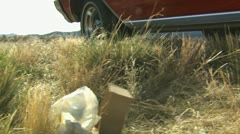 Littering the roadside Stock Footage