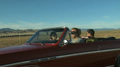 Stock Video Footage of vintage red convertible driving