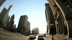 P.O.V. driving city centre Chicago, USA - stock footage
