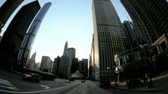 P.O.V. driving city centre, Chicago, USA - stock footage