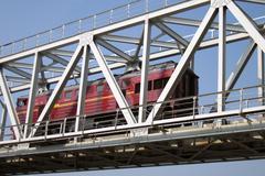 Train truck and railroad bridge Stock Photos