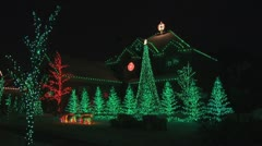 House with Christmas lights Stock Footage