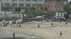 Double play during low tide baseball on Casco Viejo beach Stock Footage