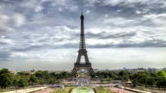 Eiffel Tower HDR - Time Lapse Stock Footage