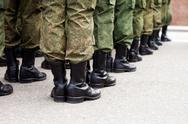Military uniform soldier row Stock Photos