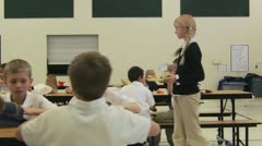 Mean girls at school lunch Stock Footage