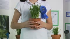 Girl with her science fair project Stock Footage