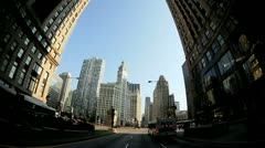 P.O.V. driving Chicago Trump Tower, USA Stock Footage