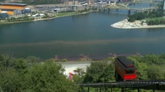 Duquesne Incline car going down Mt Washington in Pittsburgh Stock Footage