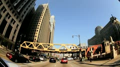 P.O.V. Driving Under El Train, Chicago, USA Stock Footage