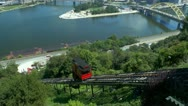 Stock Video Footage of Duquesne Incline car traveling up Mt Washington in Pittsburgh