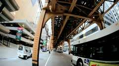P.O.V. Driving Under Chicago Metro Rail System, USA - stock footage