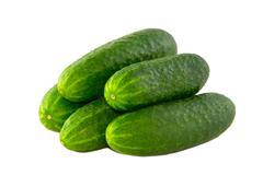 Ripe cucumber isolated on white background Stock Photos