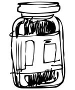 closed glass jar - stock illustration