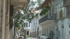 Panama: Casco Viejo architectural style mix Stock Footage