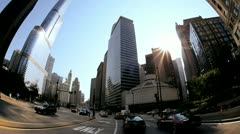 P.O.V. City Driving Trump Tower, Chicago, USA - stock footage