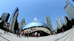 Tourists visit Bean, Millennium Park, Chicago, USA Stock Footage