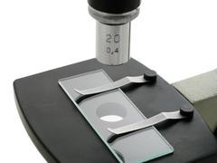 under the microscope in laboratory - stock photo