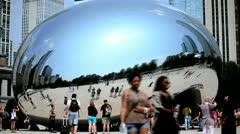 Tourist Time Lapse visiting Bean, Millenium Park, Chicago, USA Stock Footage