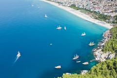 cleopatra sand beach resort of turkey alanya - stock photo