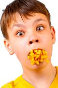 Child and fast food Stock Photos