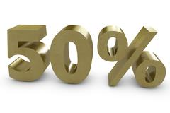 Fifty percent in 3d Stock Illustration