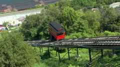 Duquesne Incline car traveling up Mt Washington in Pittsburgh Stock Footage