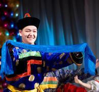 Buryat (mongolian) dancer Stock Photos