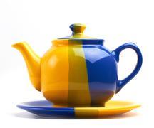 teapot on white - stock photo