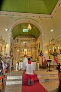 mass at church in bahia - stock photo