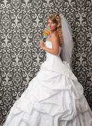 cute bride with lollypop - stock photo