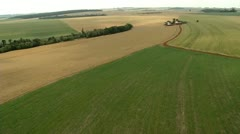 Aerial view of agricultural area Stock Footage
