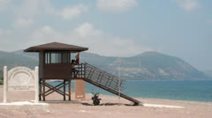 Life Guard Station Cyprus Stock Footage