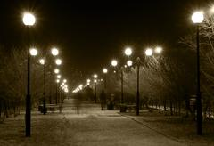 Night lane with street lamps Stock Photos