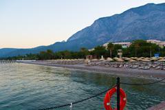 Romantic decline on coast of the mediterranean sea - stock photo