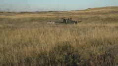 Military, Leopard 2A4 tank on the move follow shot Stock Footage