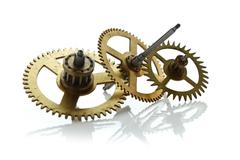 Clockwork gears isolated on white Stock Photos