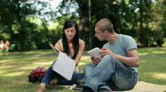 Young students learning in the park, steadicam shot HD Stock Footage
