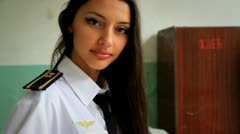 cadet girl posing for the camera. 6. - stock footage
